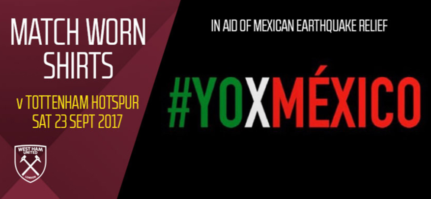 West Ham e Chicharito promovem leilão em prol das vítimas do terremoto no México