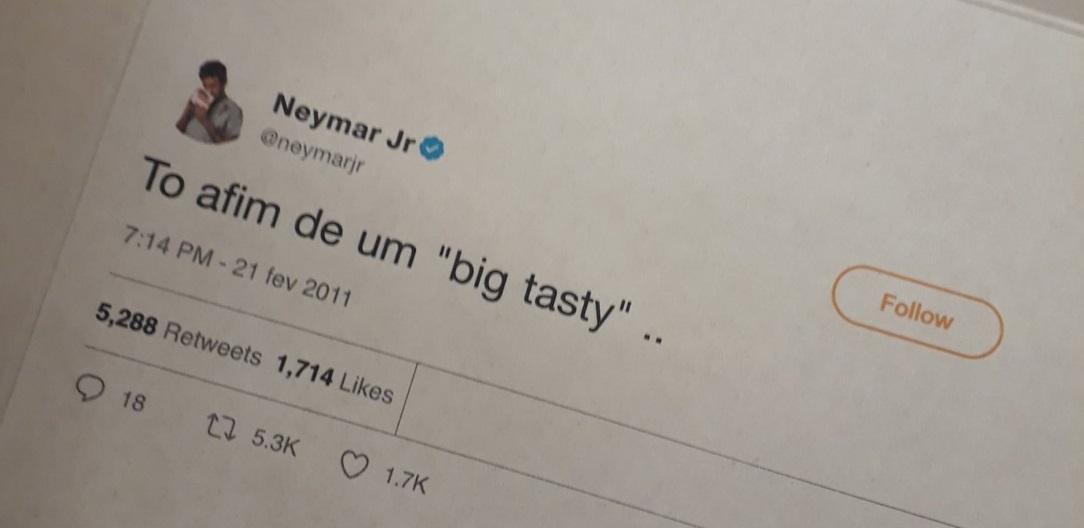 McDonald's volta a colocar tweets de Neymar Jr. nas embalagens
