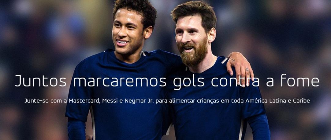 Ao lado da Mastercard, Neymar e Lionel Messi lutarão contra a fome