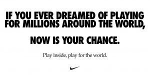 Nike pede para pessoas ficarem em casa em campanha contra o coronavírus