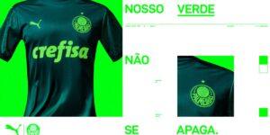 """Com lema """"Nosso verde não se apaga"""", Puma apresenta camisa 3 do Palmeiras"""