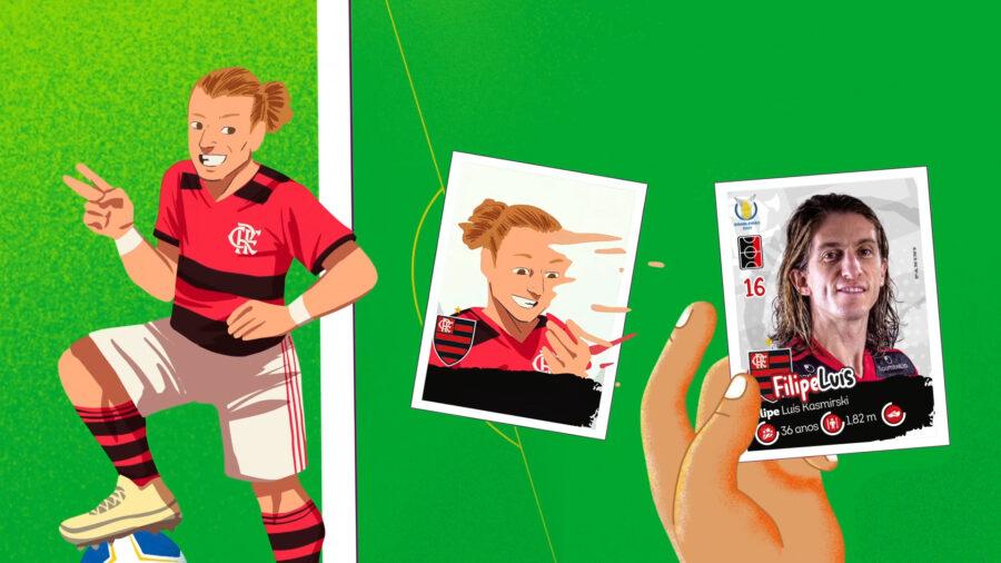 Jogadores viram ilustrações em ação da Panini para o álbum do Brasileirão